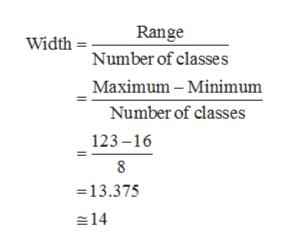 Range Width Number of classes Maximum-Minimum Number of classes 123-16 8 13.375 14