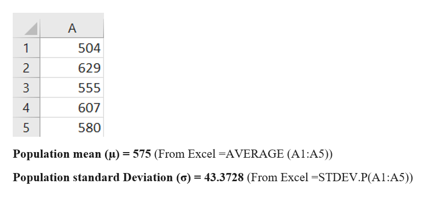 A 1 504 2 629 3 555 607 5 580 Population mean (u) 575 (From Excel -AVERAGE (A1:A5)) = Population standard Deviation (o) = 43.3728 (From Excel -STDEV.P(A1:A5)) Ln