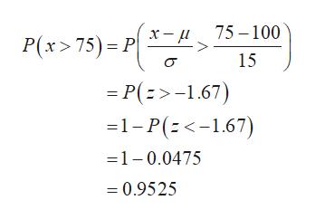 75 100 x- P(x> 75) P 15 = P(>-1.67) 1-P(-167) 1-0.0475 = 0.9525