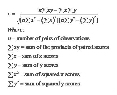 Σx-ΣΙΣ. inΣ- (ΣΟΣΥ- (Σ)1 Where n number of pairs of observations Zxy ILm of the prodncts of paired scores Exsum ofx scores Ey sum ofy scores Ex2-SLm of squared x scores Ey m of squared y scores