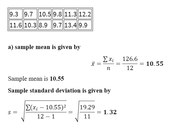9.3 9.7 10.59.8 11.3 12.2 11.6 10.3 8.99.7 13.49.9 a) sample mean is given by Σχ 126.6 10. 55 12 п Sample mean is 10.55 Sample standard deviation is given by E(xi-10.55) 12 1 19.29 1.32 S = 1 11