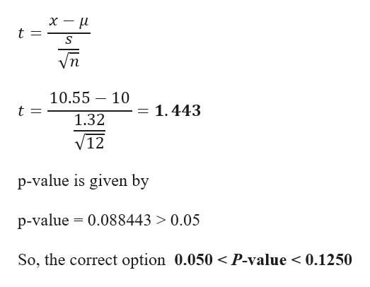 х — и t п 10.55 10 = 1.443 1.32 V12 p-value is given by p-value 0.088443 > 0.05 So, the correct option 0.050 < P-value < 0.1250