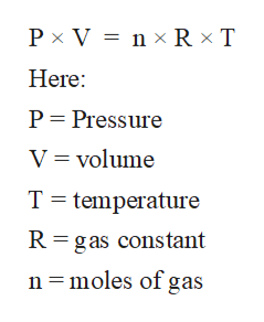 Px V n x Rx T Here P Pressure V volume T temperature R gas constant n =moles of gas