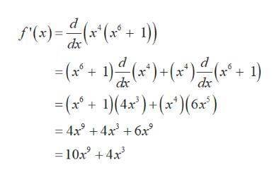 "d (x""(x* + 1) f'(x) dx -(1())(1) ) + (x*); (a21 dx -(14x)+ (x ) 6x ) = 4x3 4x3 6x 10x +4x"