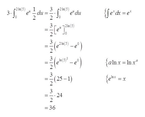 "3 2 In(5) 2 In( 5) 3- {fe'dr = e edu 2 du 3 e"" 10 2 Im(5) е -e) _ 2 3 In(5) {alnx=Inx 1nx = X 2(25-1) 3 24 2 = 36"