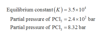 Equilibrium constant(K) = 3.5x 10 Partial pressure of PCl 2.4x102 bar Partial pressure of PCl 8.32 bar