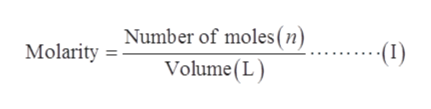 Number of moles (n) Volume(L Molarity