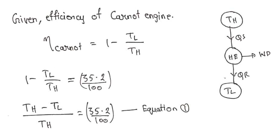 """Given, efficionay of Canot engine TH TL TH """"careat Carnot pWP HE TL 35-2 11 TH (00 TL -- TH TL 35-2 Εqμαtio Ο (o0 TH"""