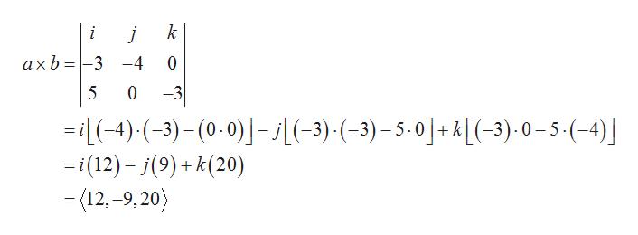 k i j axb3 -4 0 -3 5 0 (-4)(3)-(0.0--3)( -3) -5-0]+k[(-3)-0-5-(-4)] i(12)-(9) k(20) (12,-9,20) +