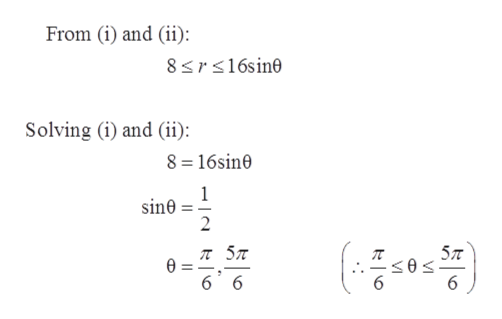 From (i) and (ii): 8srs16sine Solving (i) and (ii) 8 16sin0 1 sine 2 ( л 5л 5л 6 6
