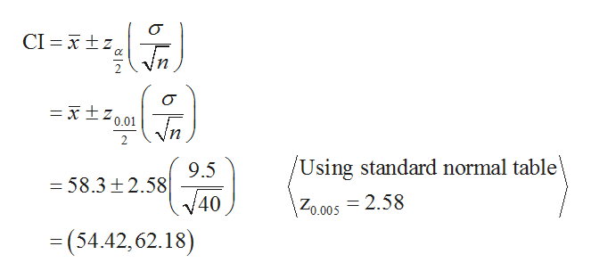 CI xtz x10.01 n /Using standard normal table 9.5 -58.3 t2.58 40 Zo.005 = 2.58 =(54.42,62.18)
