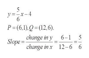 5 y=x-4 6 P (6,1),Q(12,6). change in y 6-1 5 Slope change in x 12-6 6