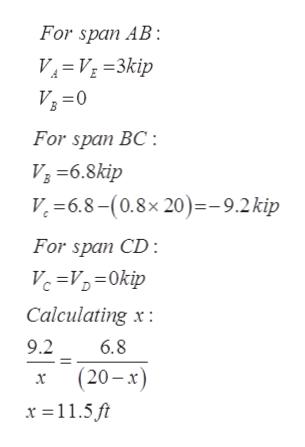 For span AB V V3kip V3 0 For span BC -6.8kip V. -6.8-(0.8x 20)-9.2kip For span CD : Vc=V0kip Calculating x 9.2 6.8 x(20-x x 115 ft
