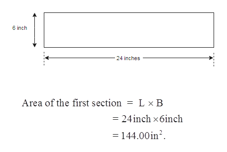 6 inch 24 inches Area of the first section = L x B = 24inch x6inch = 144.00in2