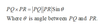 PQXPR - |PO||PR|Sine Where 0 is angle between PQ and PR.