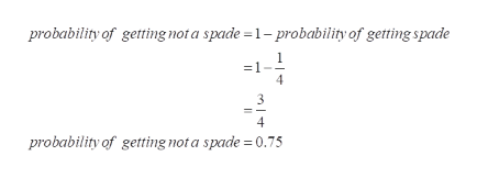 probability of getting not a spade 1- probability of getting spade 4 probability of getting not a spade 0.755