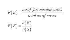 no.of favourablecases P(E)= total no.of cases n(E) n(S) P(E)