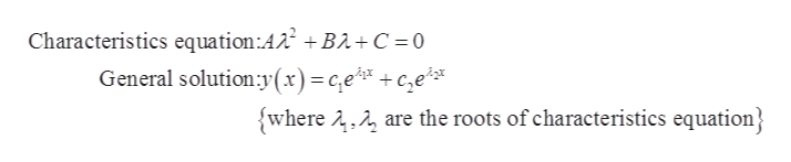 Characteristics equation:AA2 BA+C = 0 General solution y(x)=c,e + c,e? are the roots of characteristics equation swhere 2,