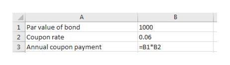 A 1 Par value of bond 1000 2 Coupon rate Annual coupon payment 0.06 B1 B2