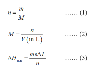т (1) п М п (2) М- V (in L) msAT ΔΗ, (3) n