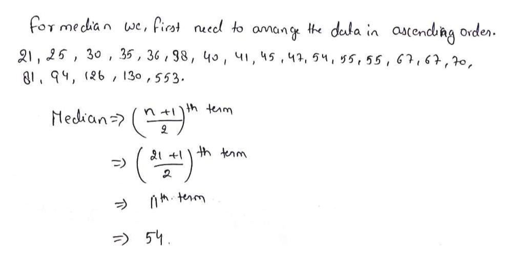 for median we, fiat nuecl to amang te deda in ascendbng orden 21, 25, 30 35, 36, 98, 40, 41, 45,41, 5, 55,55, 6,6,0, 81, 94, (26 130, 553 / Median ntthterm 9 th tnm 21