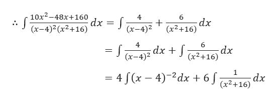10х2-48х+160 dx (x-4)2 (x2+16) 4 6 dx + (x2+16) (х-4)2 4 dx (х-4)2 6 dx (x2+16) 1 dx (x2+16) = 4 J(x- 4)-2dx + 6
