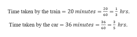 20 =hrs. Time taken by the train = 20 minutes 60 36 3 hrs. 5 Time taken by the car 36 minutes 60