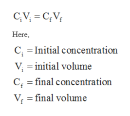 CAV CV Here C, Initial concentration V initial volume C final concentration V final volume