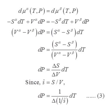 "du"" (T.P) -du"" (Т,Р) -Se dT V dP -s dT+VdP (e-)dP = (S -s) dT (S-sP dP -ат AS dP= dT AV Since, S/V 1 - dT dP (3) A(1/5)"