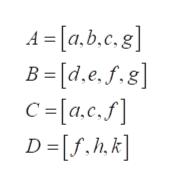 A -a.g] , e, f. .b, c B = [d.e.f.8] C =[a.c.f] D=[f.h.k]