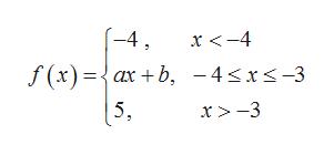 (-4 x<-4 f (x)={ax + b, -4sxs-3 5, x > -3