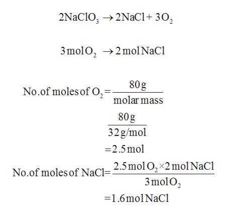 2NaClO, 2NaCl+ 30, 3molO, 2mol NaCl 80g No.of moles of O, = molar mass 80g 32g/mol -2.5mo 2.5mol O2 2mol NaCl 3mol O2 - 1.6mol NaCl No.of moles of NaC.
