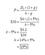 Dox(1+g) P = k-g $4x(1+5%) $30= k-5% $4.2 k-5% $30 k =14%5% 19%