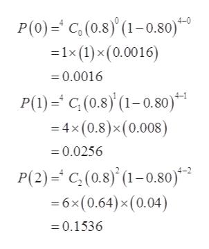 P(0)C,(0.8)'(1-0.80) -1x (1)x (0.0016) = 0.0016 P(1)C(0.8)(1-0.80) =4x(0.8)x (0.008) =0.0256 P(2)=C,(0.8) (1-0.80) 6x (0.64) x(0.04) =0.1536