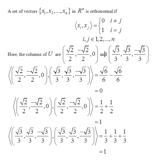 "A set of vectors x,x,....x,} in R"" is orthonormal if (a%,x,)= 