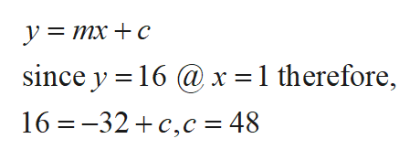 ymxc since y 16@x = 1 therefore, 16 -32 c,c = 48