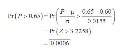 P- Pr(P 0.65) Pr 0.65-0.60 0.0155 Pr(Z 3.2258) =0.0006