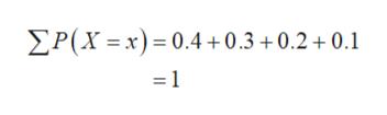 P(X x) 0.4+0.3+0.2 0.1 =1