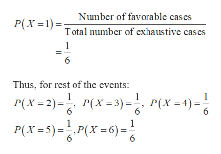 Number of favorable cases P(X Total number of exhaustive cases 1 6 Thus, for rest of the events: 1 1 P(X2)P3)P(X=4)= P(X= 5) =승,P(X =6) = P(X 3) P(X4) 6 6 6 1