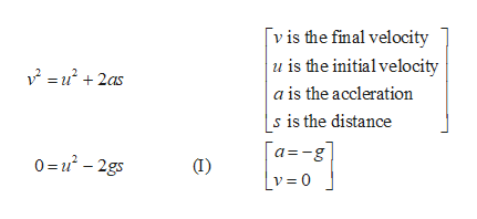 vis the final velocity u is the initialvelocity u2as + a is the accleration s is the distance a-g |v=0 0=-2gs