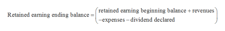 (retained earning beginning balance+revenues Retained earning ending balance =   -expenses -dividend declared