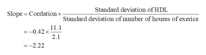 Standard deviation of HDL Slope Corrlation x Standard deviation of number of houres of exerice 11.1 =-0.42 x 2.1 =-2.22