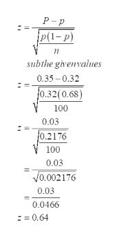 P - p p(1-p) subthe givenvalues 0.35 - 0.32 f0.32(0.68) 100 0.03 0.2176 V 100 0.03 Vo.002176 0.03 0.0466 := 0.64