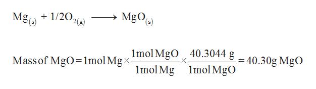 MgOe) Mg(s) 1/20, 2(g) Mass of MgO=1molMgximolMgO 40.3044 g-40.30g MgO 1mol Mg 1mol MgO