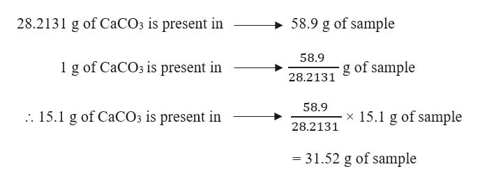 28.2131 g of C2CO3 is present in 58.9 g of sample 58.9 1 g of CaCO3 is present in 28.2131 of sample 58.9 x 15.1 g of sample . 15.1 g of CaCO3 is present in 28.2131 - 31.52 g of sample