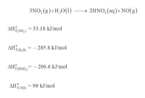 3NO, (g)+H20(1) 2HNO,(aq)+NO(g) AH NO =33.18 kJ/mol AHH = -285.8 kJ/mol AHHNO, - 206.6 kJ/mol ΔΗ . 90 kJ/mol f(NO)