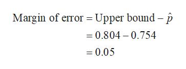 Margin of error Upper bound - p 0.804 - 0.754 =0.05