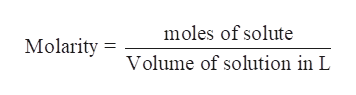moles of solute Molarity Volume of solution in L