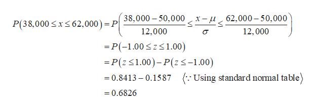 38,000 50,000 x-u62,000-50,000 P(38,000 xs62,000) = P 12,000 12,000 -P(-1.00zs1.00) =P(z1.00)-P(zs-1.00) =0.8413 - 0.1587 Using standard normal table) 0.6826