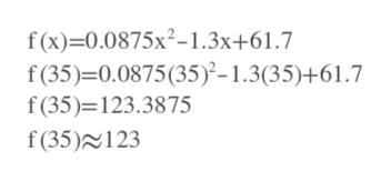 f(x)-0.0875х2-1.3х+61.7 f(35)-0.0875(35)-1.3(35)+61.7 f(35) 123.3875 f(35)123